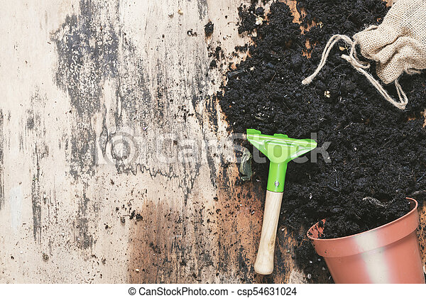 Small rake and flower pot with soil - csp54631024