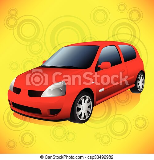 Small Red City Car on Funky Orange Retro Background - csp33492982