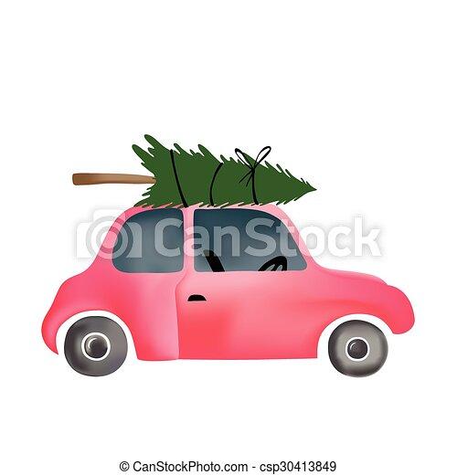 Car Christmas Tree.Small Red Vintage Car And Christmas Tree