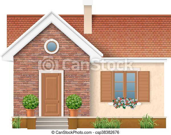 small residential house with brick wall - csp38382676
