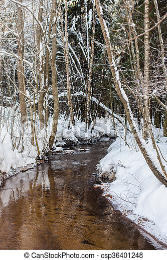 small river in the winter - csp36401248