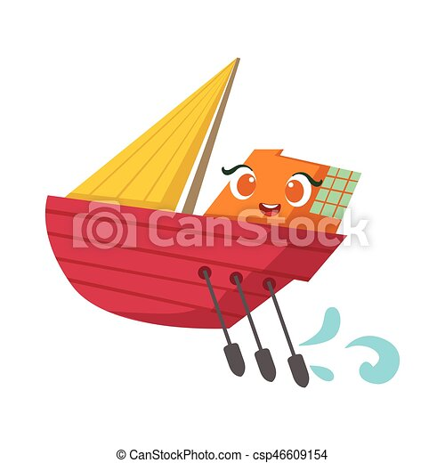 Small sailing yacht with paddles set, cute girly toy wooden... clipart vector - Search ...
