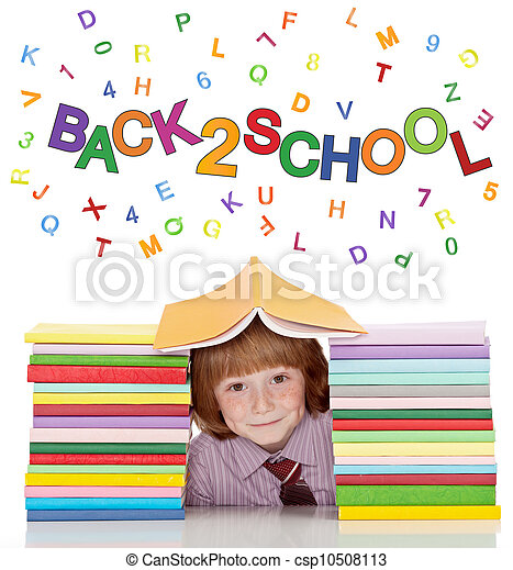 Small school boy with shirt and tie and lots of books - csp10508113