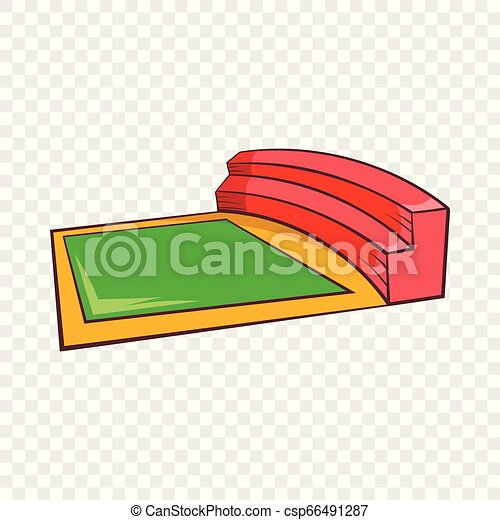 Small square stadium icon, cartoon style - csp66491287