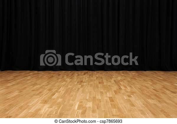 small stage with black velvet theater curtains csp7865693
