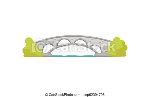 Small stone arch bridge and green bushes. Walkway across the river. Landscape element for city park. Flat vector design - csp62394795