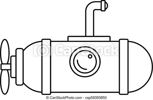 Small submarine icon, outline style