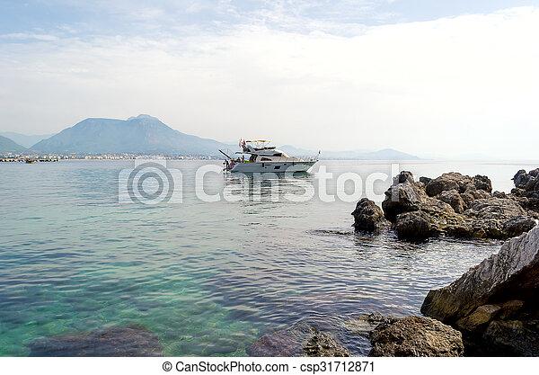 Small touristic boat in the Mediterranean sea, Turkey - csp31712871
