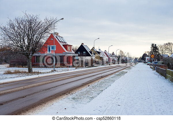 small town in winter - csp52860118