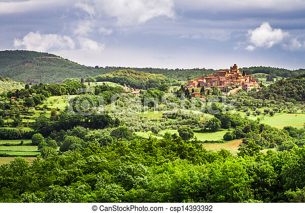 Small town on a hill in Tuscany - csp14393392