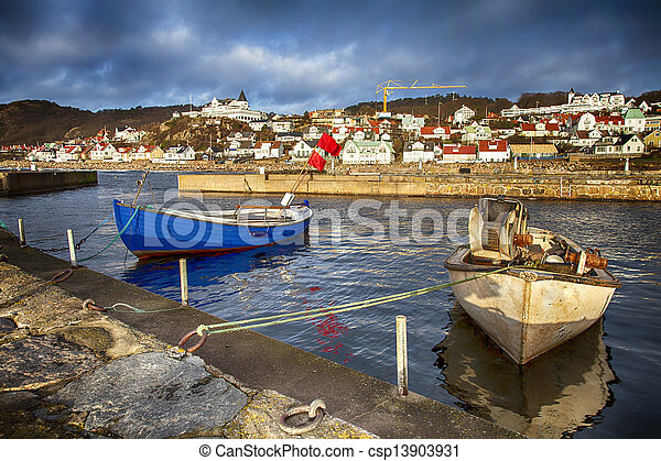 Small traditional fishing village in sweden - csp13903931