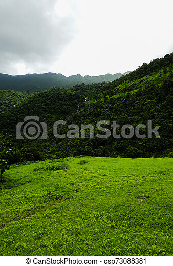small waterfall in a green lands - csp73088381