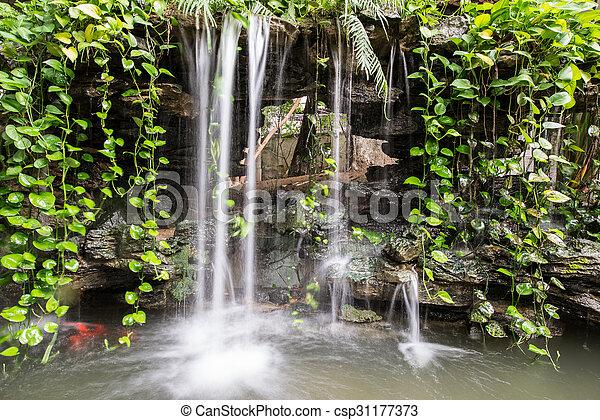 small waterfall of a rockery - csp31177373