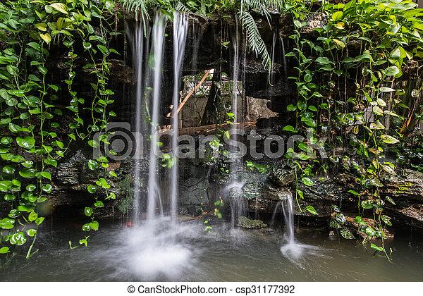 small waterfall of a rockery - csp31177392