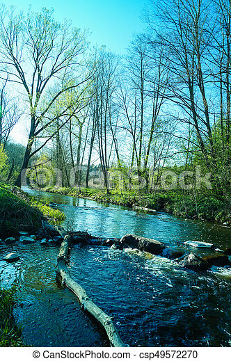 Small waterfall on the river - csp49572270