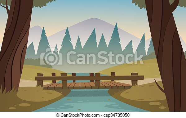 Small wooden bridge - csp34735050
