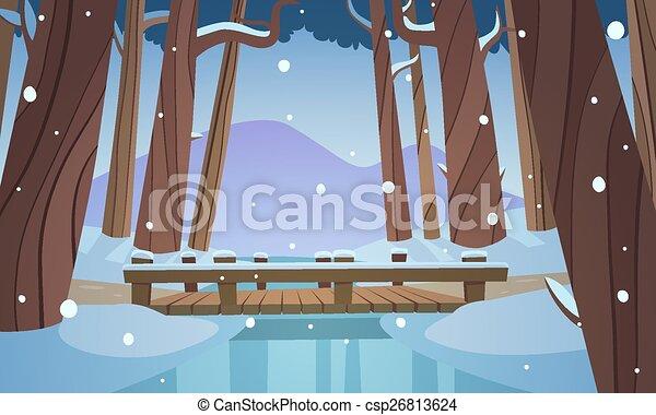 Small wooden bridge in the woods - csp26813624