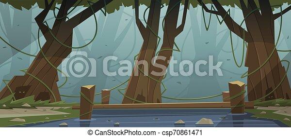 Small Wooden Bridge In The Woods - csp70861471