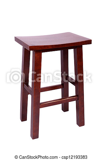 small wooden brown simple stool isolated on white background - csp12193383