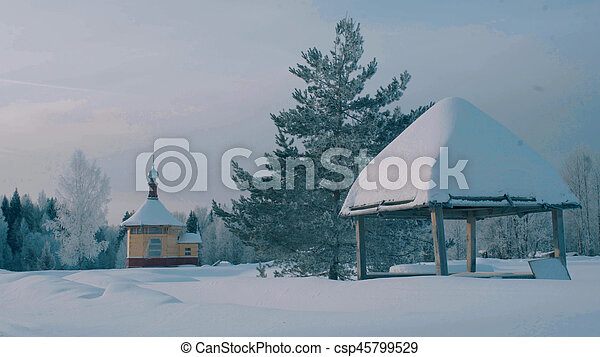 Small wooden church in a forest. - csp45799529