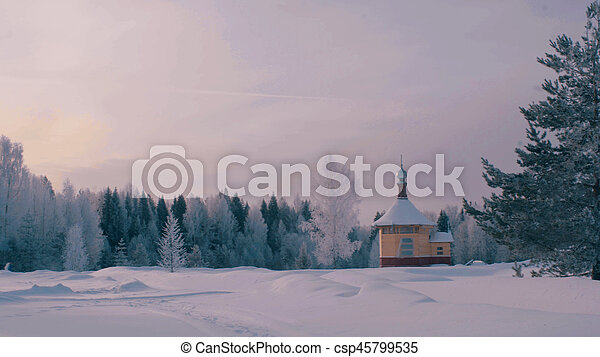 Small wooden church in a forest. - csp45799535