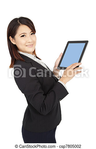 smart businesswoman holding touch pad computer and isolated on white - csp7805002