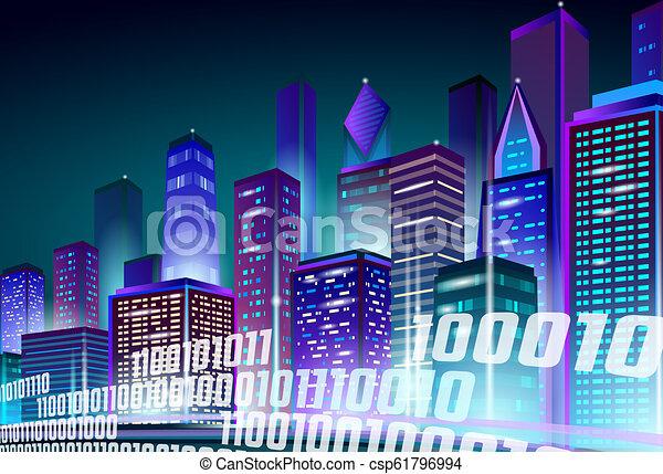 Smart City 3d Neon Glowing Cityscape Intelligent Building Highway Route Night Futuristic Business Concept Web Online Vivid Color Cyberpunk