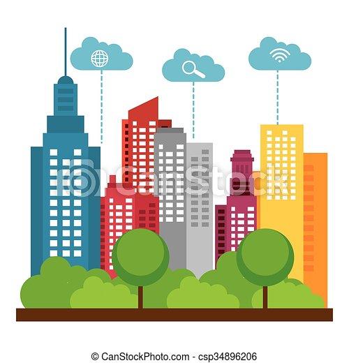smart city design smart city design vector illustration vector rh canstockphoto com city clipart images city clipart images
