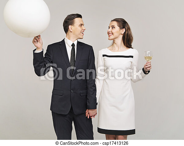 Smart couple staring at each other - csp17413126