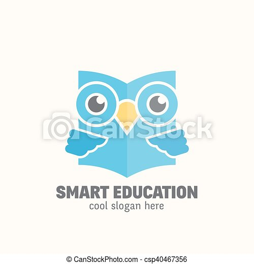 Smart Education Abstract Vector Logo Template Learning Emblem Flat Style Wise Owl Reading Book Concept With Typography Isolated