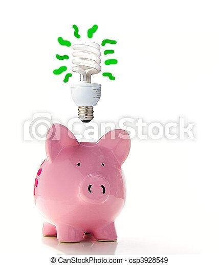 (smart, energy), cf, porcin, au-dessus, ampoule, banque - csp3928549