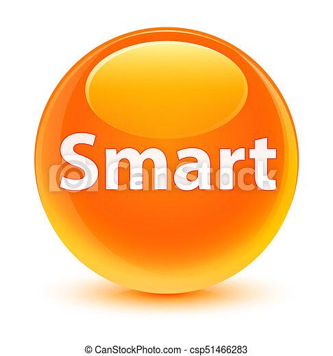 Smart glassy orange round button - csp51466283