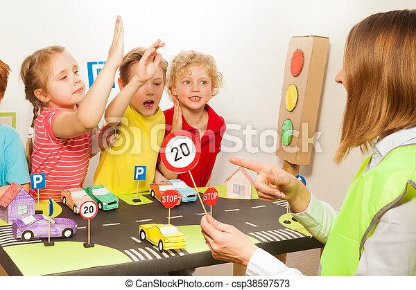 smart happy kids studying traffic regulation rules smart pupils all