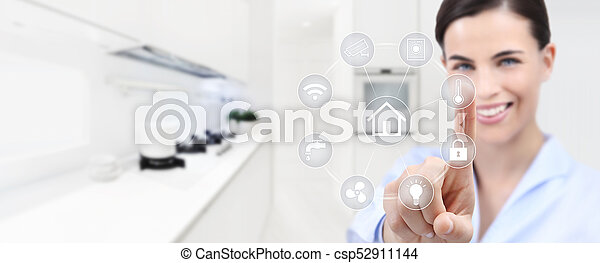 smart home automation smiling woman hand touch screen with white symbols on  kitchen background web banner and copy space template