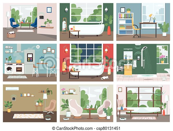 Smart Home Flat Color Vector Illustrations Set Automated Kitchen Bathroom And Living Room 2d Cartoon Interior Internet Of