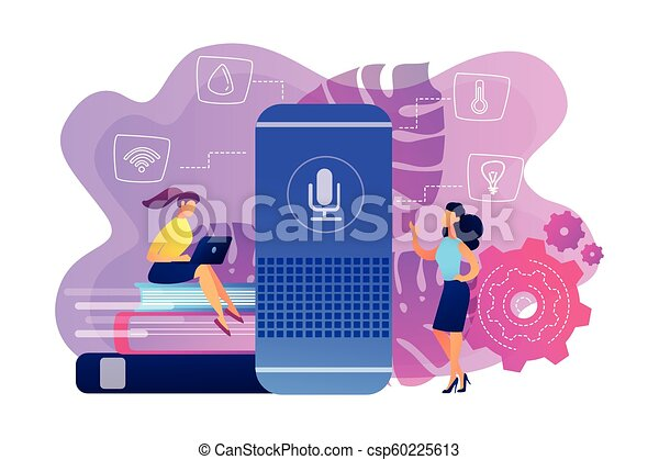 Smart home hub and home assistant concept vector illustration