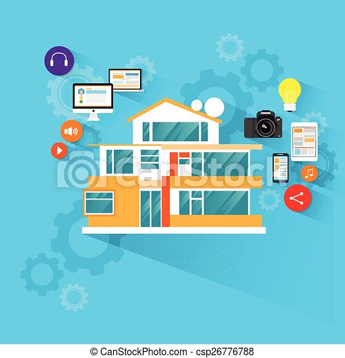 smart house technology with electronic device icons flat design - csp26776788