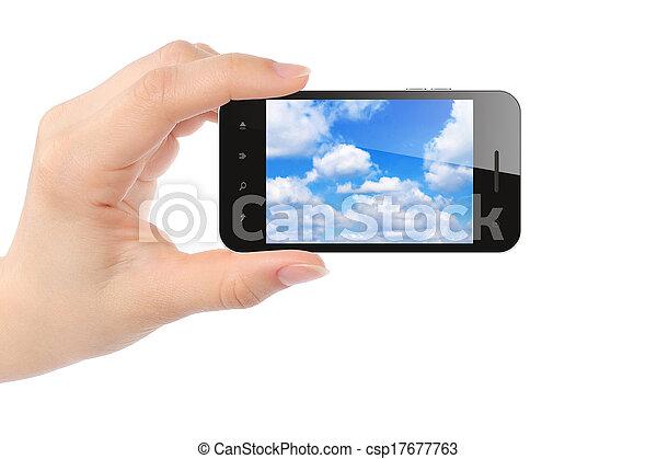 smart, kvinna, sky, ringa, fästen, hand - csp17677763