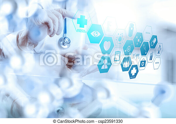 smart medical doctor working with operating room as concept - csp23591330