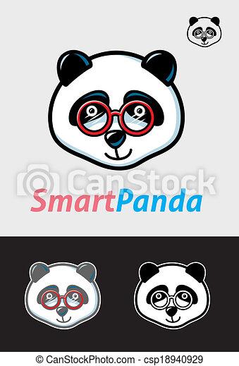 Smart Panda Symbol Cute Nerd Panda Cartoon Animal With Glasses