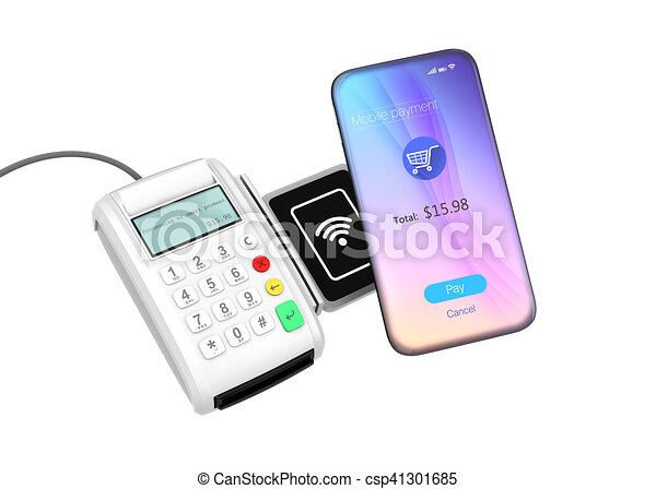 smart phone and credit card reader with nfc scanner isolated on white background 3d rendering image - Credit Card Swiper For Phone