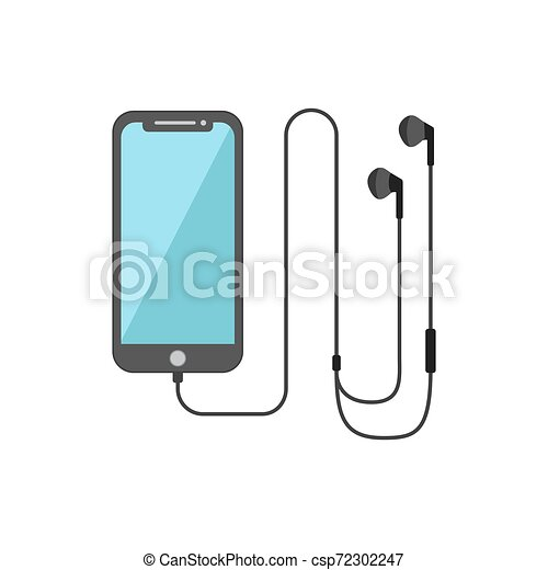 Flat Design Of Smart Phone And Headset Isolated White Background