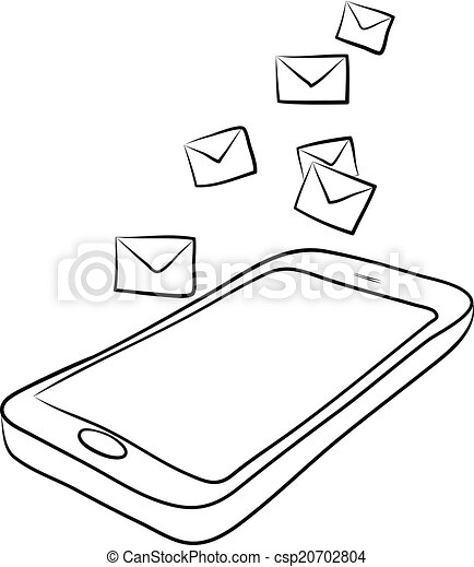 Smart Phone With Envelopes Or E Mail