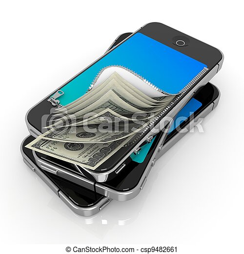 Smart Phone with Money. Mobile Payment Concept. - csp9482661