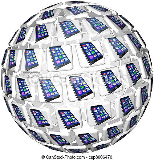 Smart Phones App Tiles Sphere Pattern - csp8006470