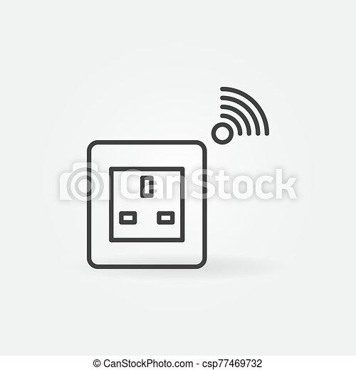 Smart Socket vector outline icon. UK type - csp77469732