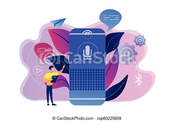 smart speaker concept vector illustration user with voice