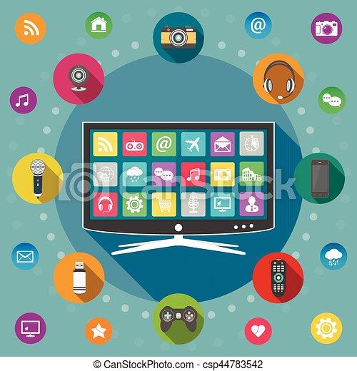Smart TV flat design concept - csp44783542