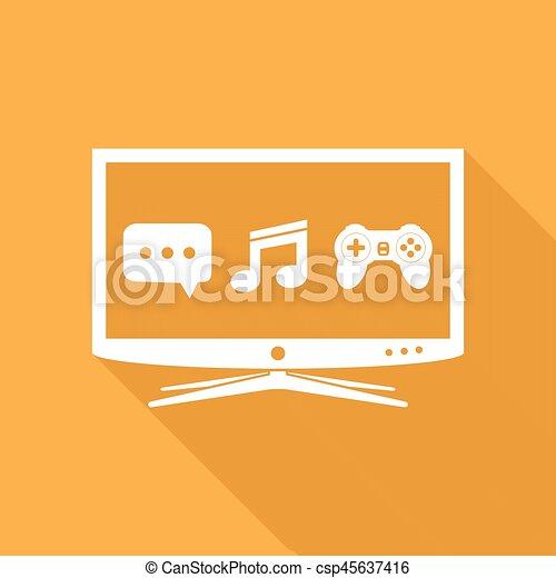 Smart TV flat design icon - csp45637416
