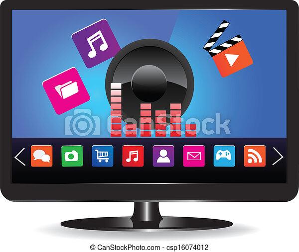 smart tv internet television concept colorful application icons. Black Bedroom Furniture Sets. Home Design Ideas